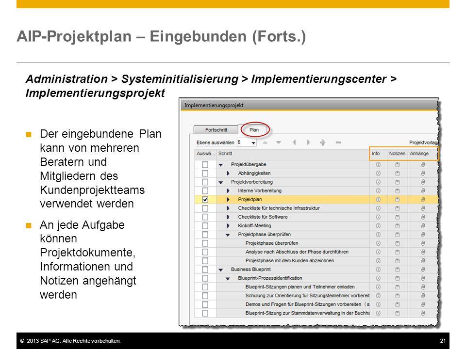 ©2013 SAP AG. Alle Rechte vorbehalten.21 AIP-Projektplan – Eingebunden (Forts.) Administration > Systeminitialisierung > Implementierungscenter > Impl