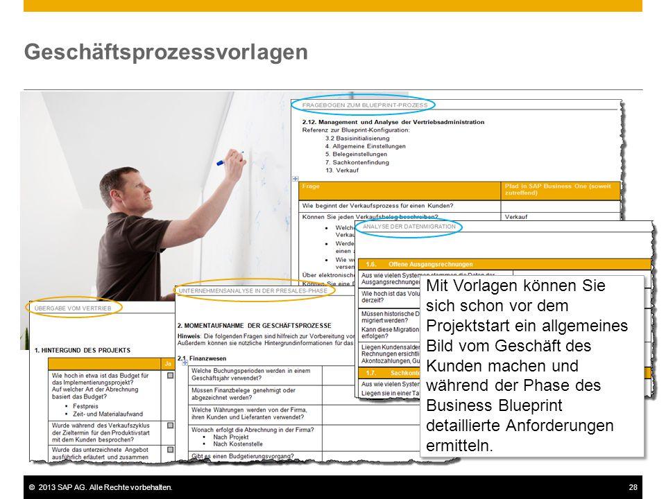 ©2013 SAP AG. Alle Rechte vorbehalten.28 Geschäftsprozessvorlagen Mit Vorlagen können Sie sich schon vor dem Projektstart ein allgemeines Bild vom Ges