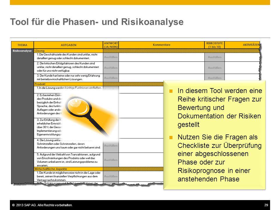 ©2013 SAP AG. Alle Rechte vorbehalten.29 Tool für die Phasen- und Risikoanalyse In diesem Tool werden eine Reihe kritischer Fragen zur Bewertung und D