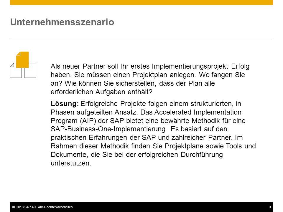 ©2013 SAP AG. Alle Rechte vorbehalten.3 Als neuer Partner soll Ihr erstes Implementierungsprojekt Erfolg haben. Sie müssen einen Projektplan anlegen.