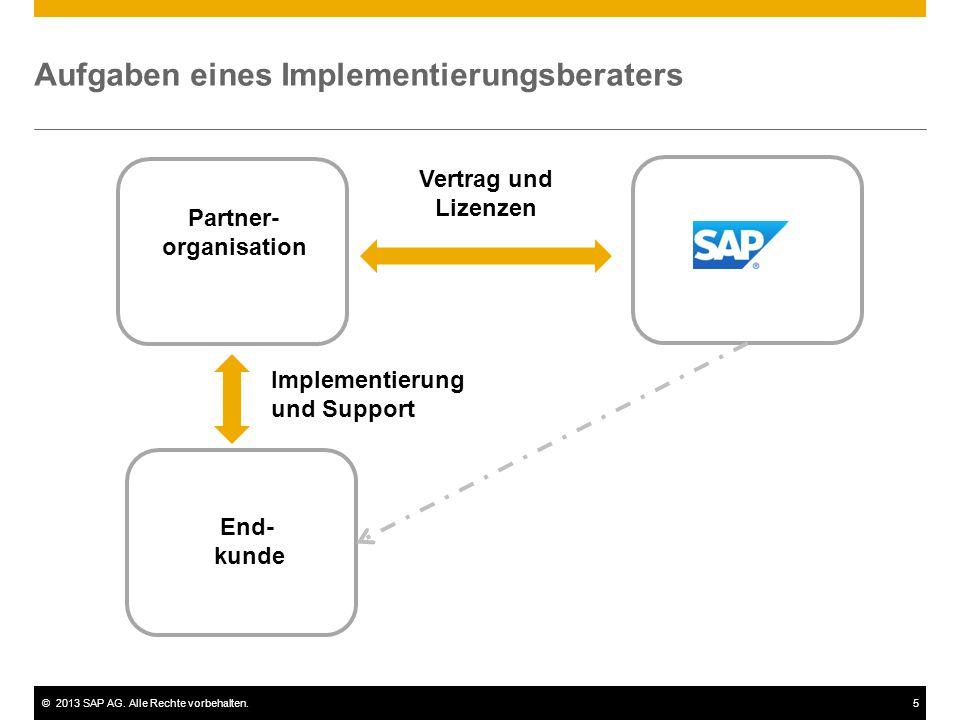 ©2013 SAP AG. Alle Rechte vorbehalten.5 Partner- organisation End- kunde Vertrag und Lizenzen Implementierung und Support Aufgaben eines Implementieru