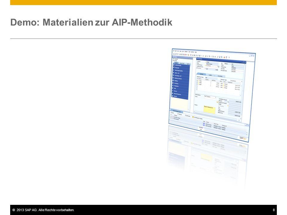 ©2013 SAP AG. Alle Rechte vorbehalten.8 Demo: Materialien zur AIP-Methodik