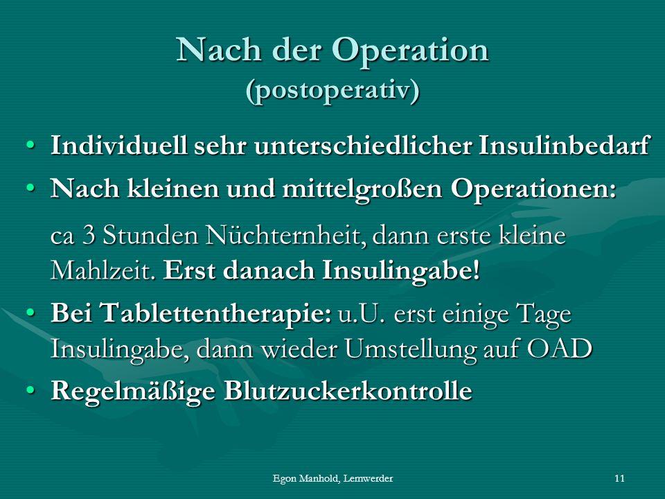 Egon Manhold, Lemwerder11 Nach der Operation (postoperativ) Individuell sehr unterschiedlicher InsulinbedarfIndividuell sehr unterschiedlicher Insulinbedarf Nach kleinen und mittelgroßen Operationen: ca 3 Stunden Nüchternheit, dann erste kleine Mahlzeit.