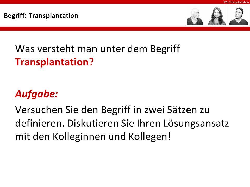 02a / Transplantation Organe: Die Lunge Die Lunge ist für die Aufnahme von Sauerstoff und die Abgabe von Kohlendioxyd zuständig.