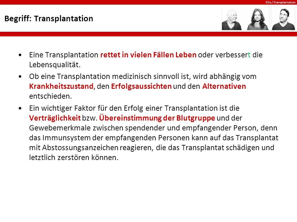 02a / Transplantation Probleme Die folgenden Probleme stellen sich u.a.