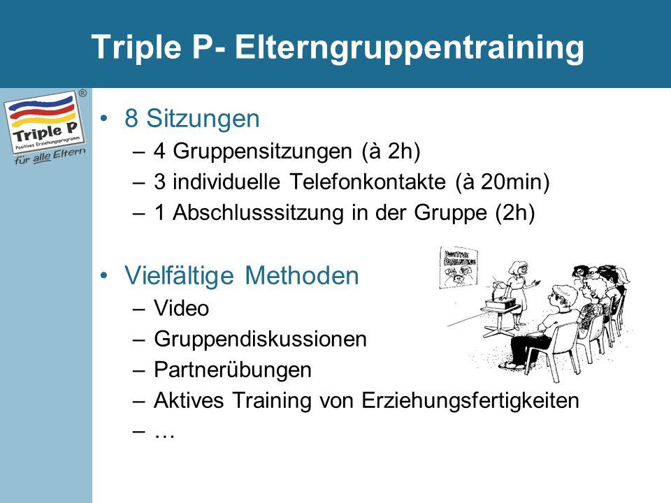 Triple P- Elterngruppentraining 8 Sitzungen –4 Gruppensitzungen (à 2h) –3 individuelle Telefonkontakte (à 20min) –1 Abschlusssitzung in der Gruppe (2h