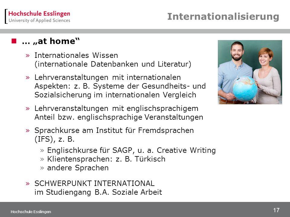"""17 Hochschule Esslingen Internationalisierung … """"at home »Internationales Wissen (internationale Datenbanken und Literatur) »Lehrveranstaltungen mit internationalen Aspekten: z."""