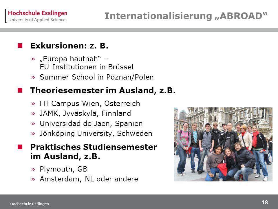 """18 Hochschule Esslingen Internationalisierung """"ABROAD Exkursionen: z."""
