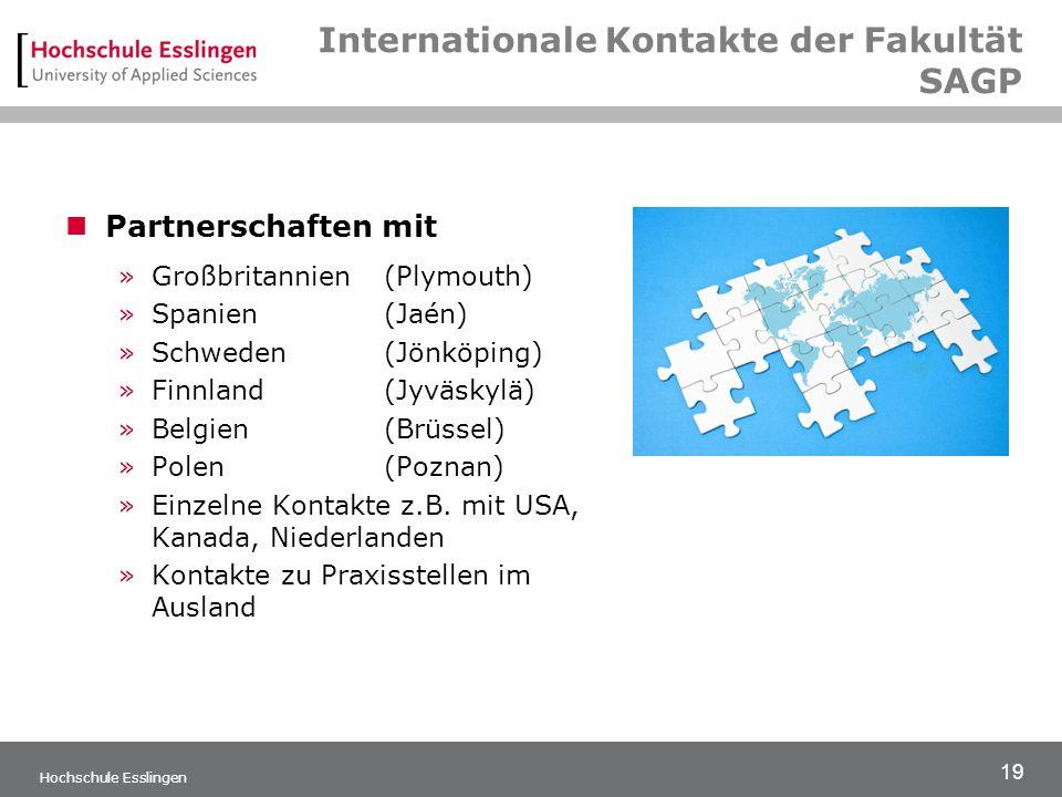19 Hochschule Esslingen Internationale Kontakte der Fakultät SAGP Partnerschaften mit »Großbritannien(Plymouth) »Spanien(Jaén) »Schweden(Jönköping) »Finnland(Jyväskylä) »Belgien(Brüssel) »Polen(Poznan) »Einzelne Kontakte z.B.