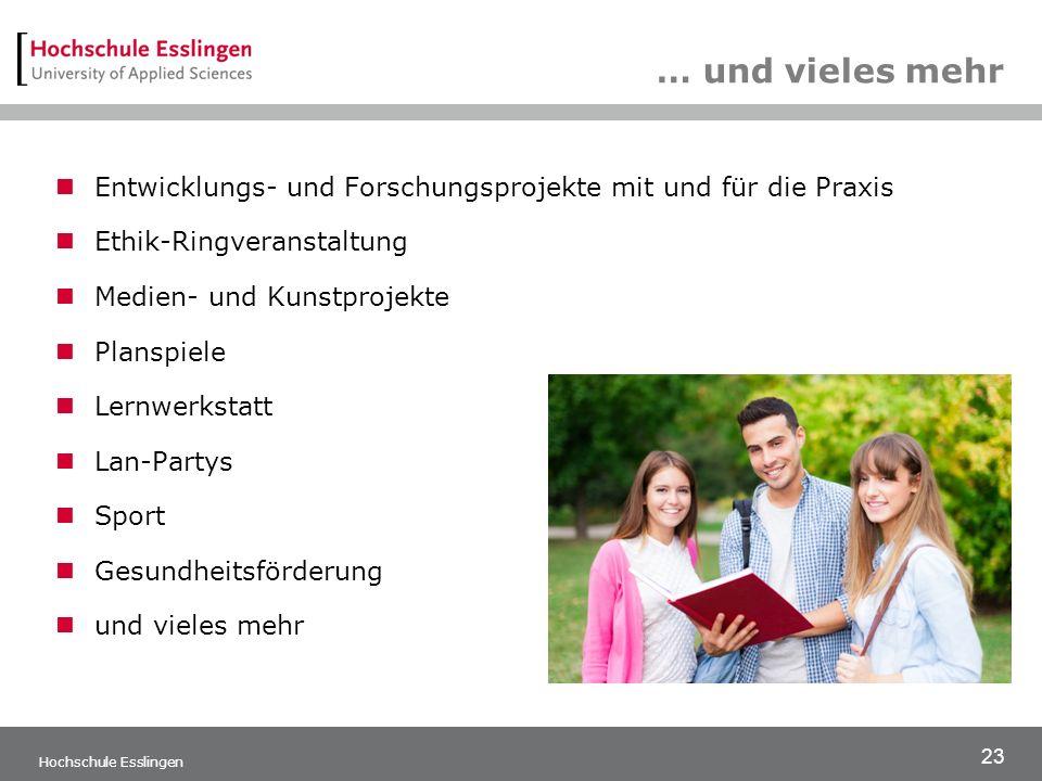 23 Hochschule Esslingen … und vieles mehr Entwicklungs- und Forschungsprojekte mit und für die Praxis Ethik-Ringveranstaltung Medien- und Kunstprojekte Planspiele Lernwerkstatt Lan-Partys Sport Gesundheitsförderung und vieles mehr