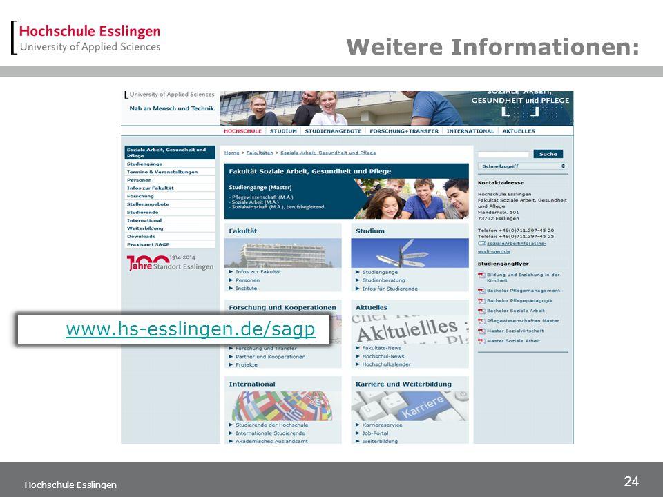 24 Hochschule Esslingen www.hs-esslingen.de/sagp Weitere Informationen: