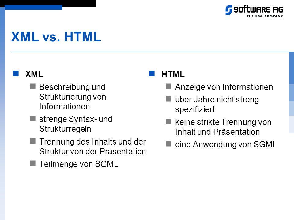 XML vs. HTML XML Beschreibung und Strukturierung von Informationen strenge Syntax- und Strukturregeln Trennung des Inhalts und der Struktur von der Pr
