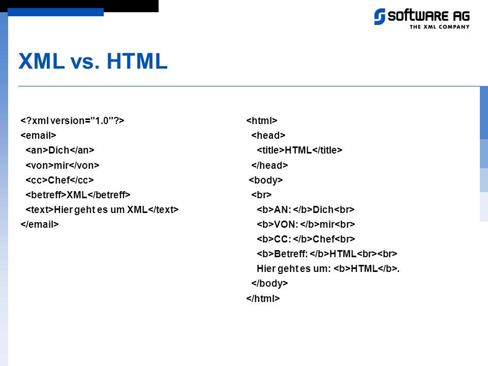 XML vs. HTML Dich mir Chef XML Hier geht es um XML HTML AN: Dich VON: mir CC: Chef Betreff: HTML Hier geht es um: HTML.
