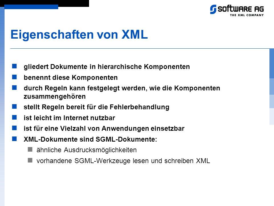 Eigenschaften von XML gliedert Dokumente in hierarchische Komponenten benennt diese Komponenten durch Regeln kann festgelegt werden, wie die Komponent