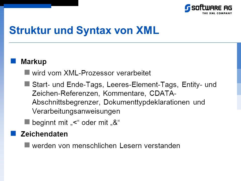 Struktur und Syntax von XML Markup wird vom XML-Prozessor verarbeitet Start- und Ende-Tags, Leeres-Element-Tags, Entity- und Zeichen-Referenzen, Komme