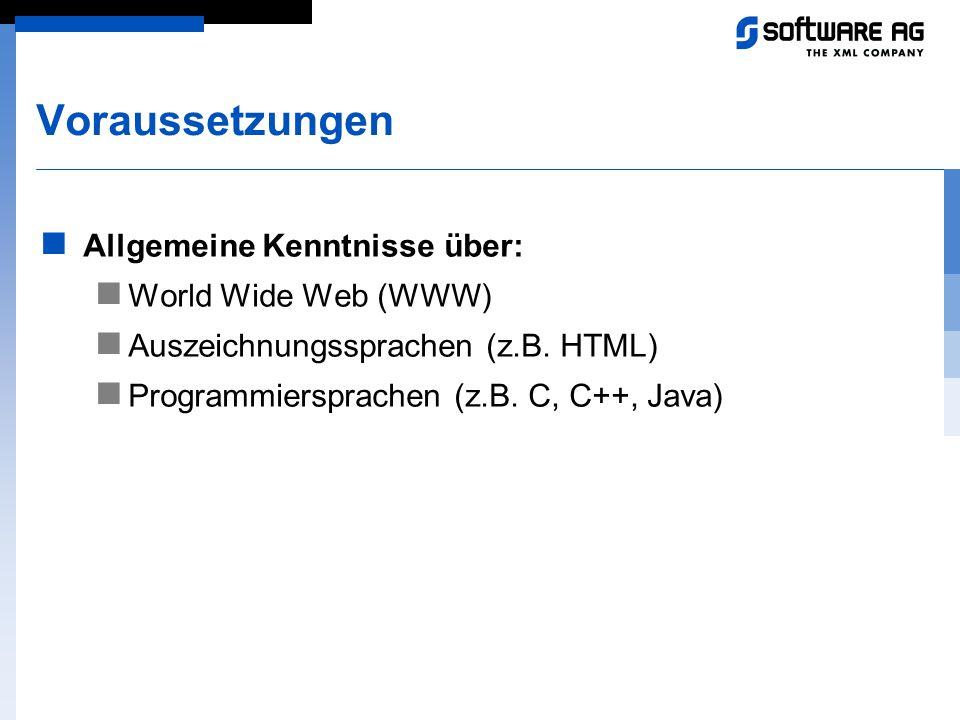 Voraussetzungen Allgemeine Kenntnisse über: World Wide Web (WWW) Auszeichnungssprachen (z.B. HTML) Programmiersprachen (z.B. C, C++, Java)