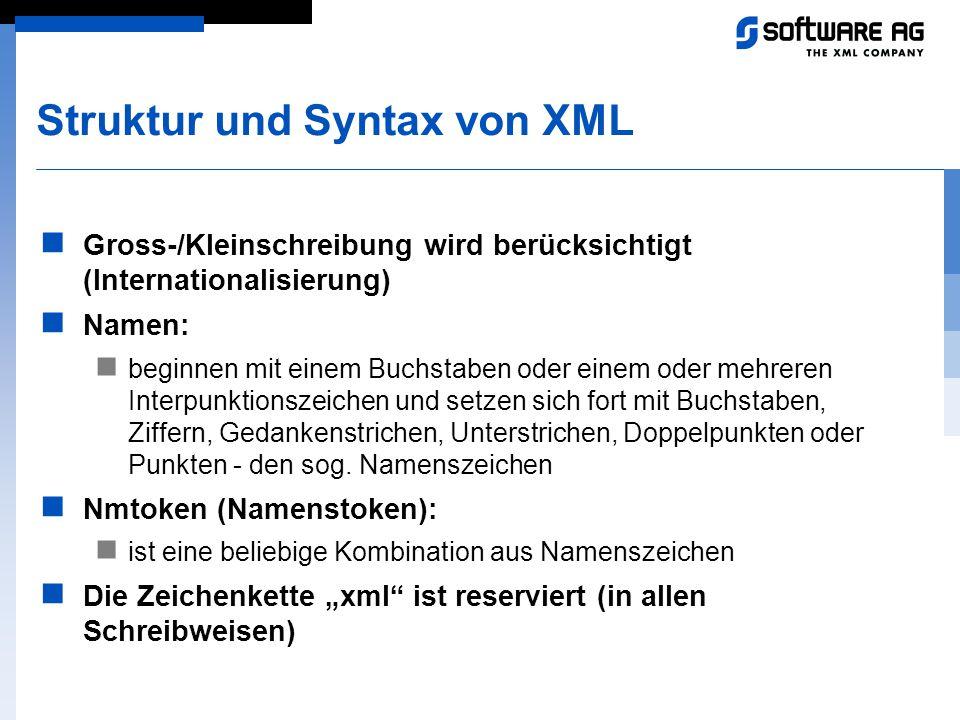 Struktur und Syntax von XML Gross-/Kleinschreibung wird berücksichtigt (Internationalisierung) Namen: beginnen mit einem Buchstaben oder einem oder me