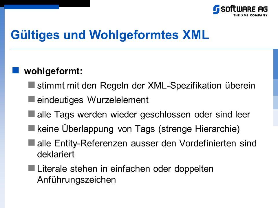 Gültiges und Wohlgeformtes XML wohlgeformt: stimmt mit den Regeln der XML-Spezifikation überein eindeutiges Wurzelelement alle Tags werden wieder gesc