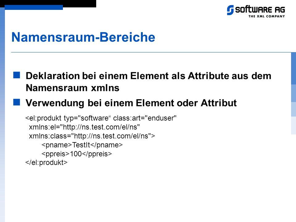Namensraum-Bereiche Deklaration bei einem Element als Attribute aus dem Namensraum xmlns Verwendung bei einem Element oder Attribut <el:produkt typ=