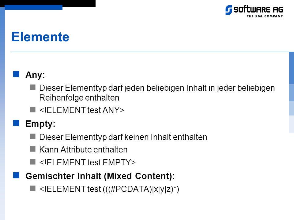 Elemente Any: Dieser Elementtyp darf jeden beliebigen Inhalt in jeder beliebigen Reihenfolge enthalten Empty: Dieser Elementtyp darf keinen Inhalt ent