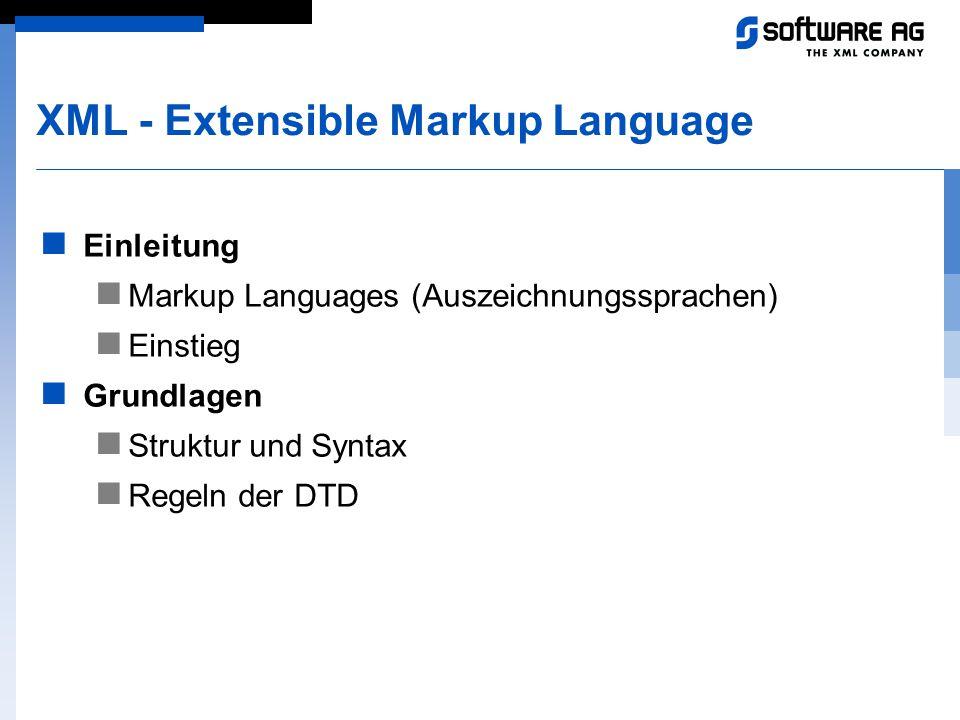 XML - Extensible Markup Language Einleitung Markup Languages (Auszeichnungssprachen) Einstieg Grundlagen Struktur und Syntax Regeln der DTD