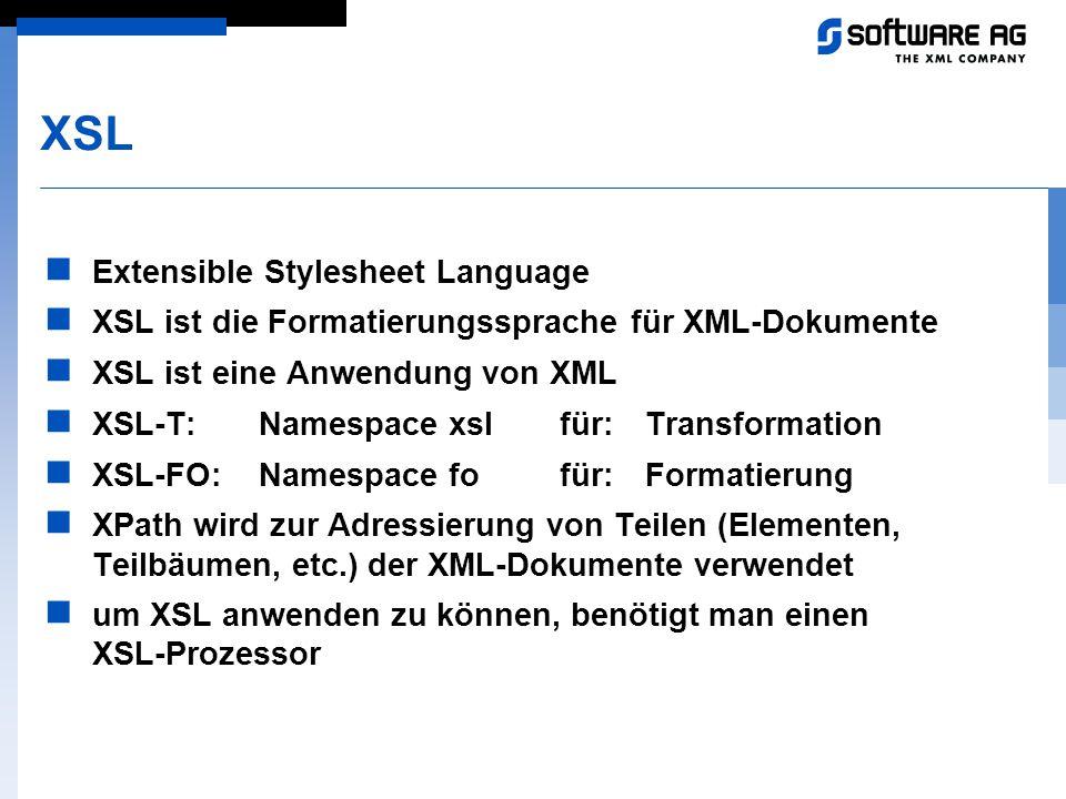 XSL Extensible Stylesheet Language XSL ist die Formatierungssprache für XML-Dokumente XSL ist eine Anwendung von XML XSL-T:Namespace xslfür:Transforma
