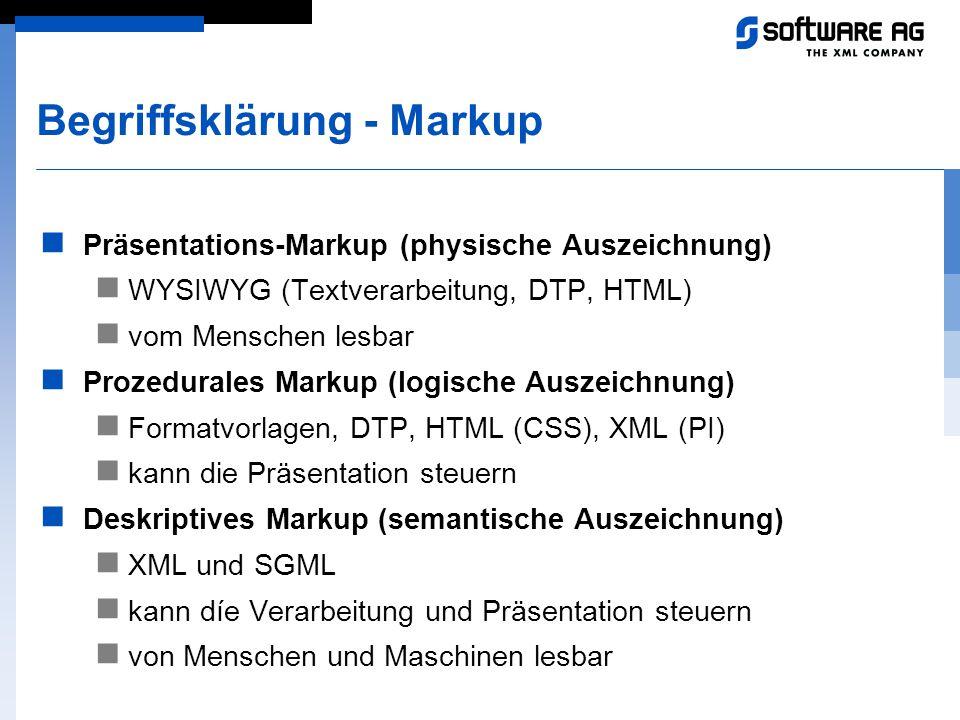 Begriffsklärung - Markup Präsentations-Markup (physische Auszeichnung) WYSIWYG (Textverarbeitung, DTP, HTML) vom Menschen lesbar Prozedurales Markup (