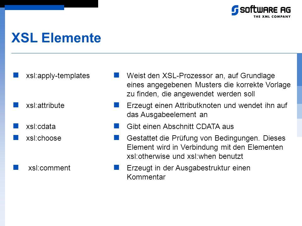 XSL Elemente xsl:apply-templates xsl:attribute xsl:cdata xsl:choose xsl:comment Weist den XSL-Prozessor an, auf Grundlage eines angegebenen Musters di