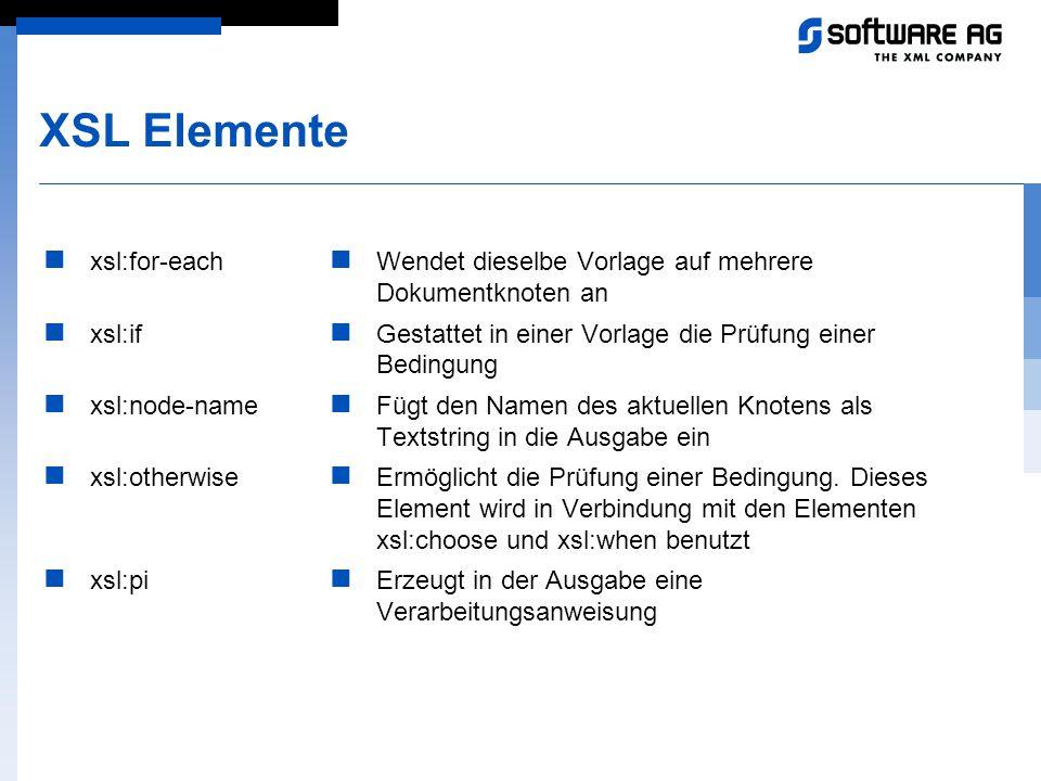XSL Elemente xsl:for-each xsl:if xsl:node-name xsl:otherwise xsl:pi Wendet dieselbe Vorlage auf mehrere Dokumentknoten an Gestattet in einer Vorlage d