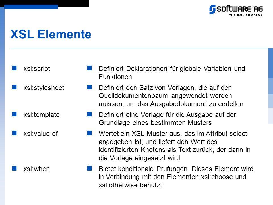 XSL Elemente xsl:script xsl:stylesheet xsl:template xsl:value-of xsl:when Definiert Deklarationen für globale Variablen und Funktionen Definiert den S