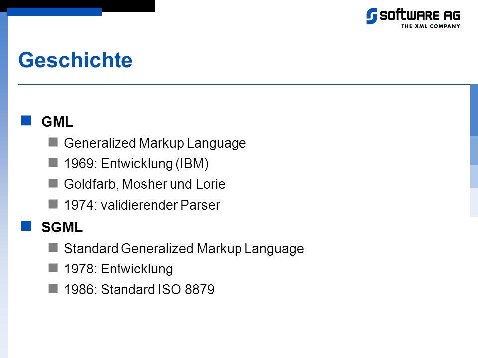 Geschichte GML Generalized Markup Language 1969: Entwicklung (IBM) Goldfarb, Mosher und Lorie 1974: validierender Parser SGML Standard Generalized Mar