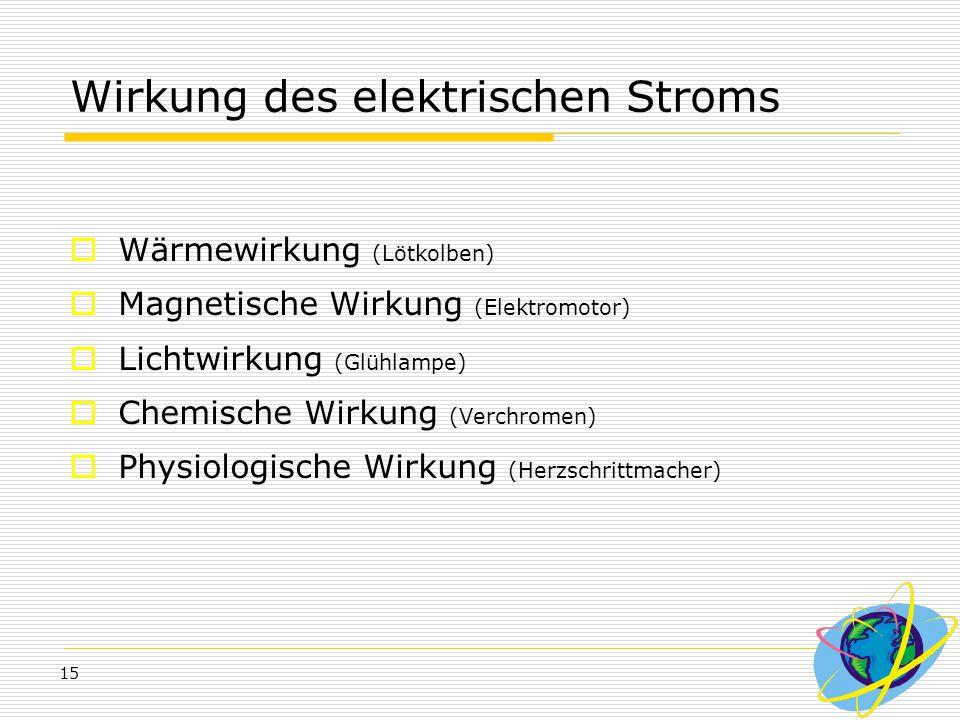 15 Wirkung des elektrischen Stroms  Wärmewirkung (Lötkolben)  Magnetische Wirkung (Elektromotor)  Lichtwirkung (Glühlampe)  Chemische Wirkung (Ver