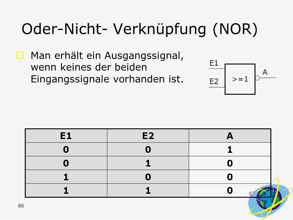 86 Oder-Nicht- Verknüpfung (NOR)  Man erhält ein Ausgangssignal, wenn keines der beiden Eingangssignale vorhanden ist. E1E2A 001 010 100 110 >=1 E1 E