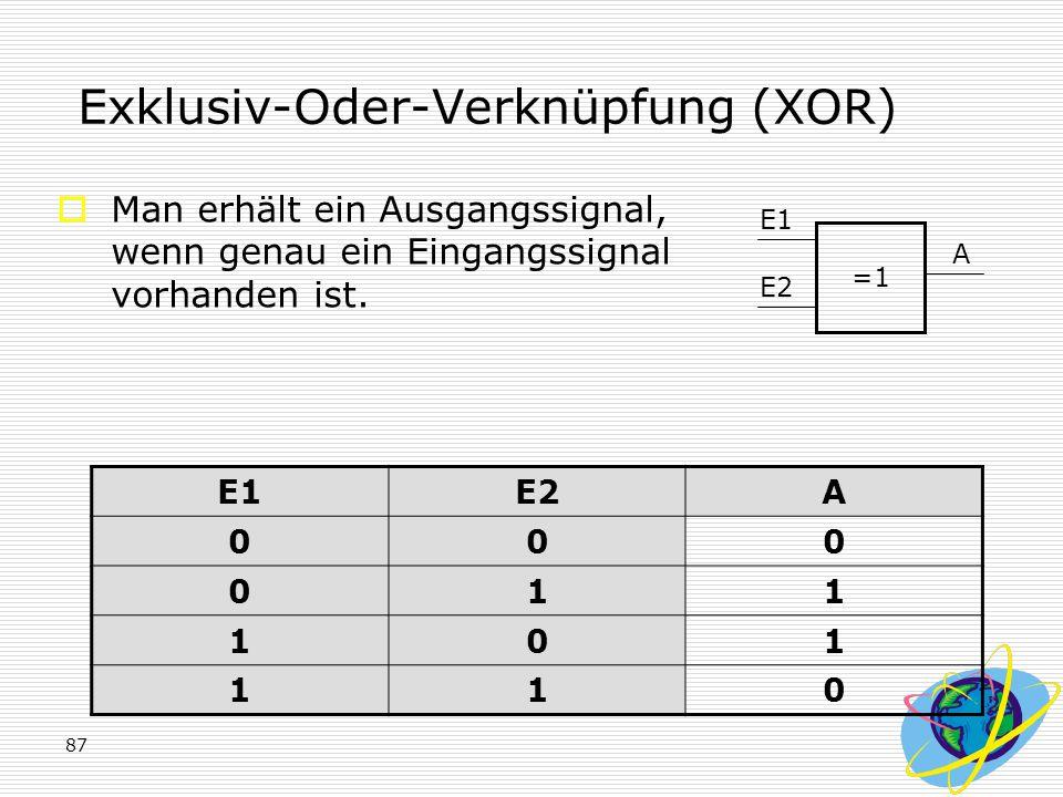 87 Exklusiv-Oder-Verknüpfung (XOR)  Man erhält ein Ausgangssignal, wenn genau ein Eingangssignal vorhanden ist. E1E2A 000 011 101 110 =1 E1 E2 A