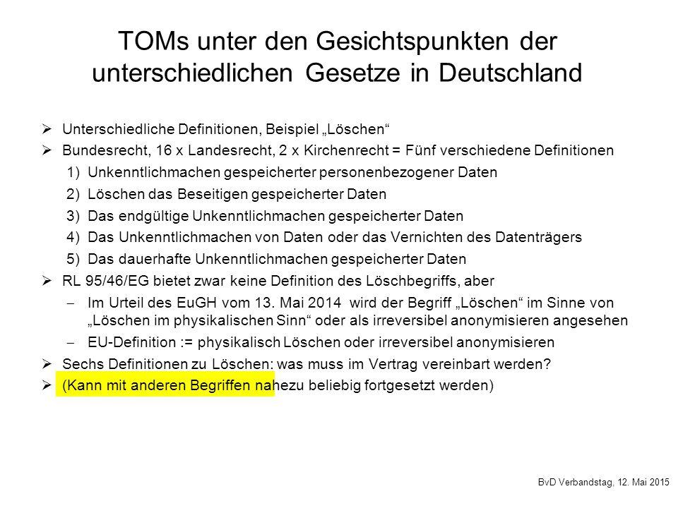 """ Unterschiedliche Definitionen, Beispiel """"Löschen""""  Bundesrecht, 16 x Landesrecht, 2 x Kirchenrecht = Fünf verschiedene Definitionen 1)Unkenntlichma"""