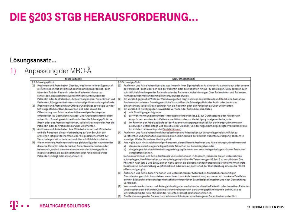 Die §203 StGB Herausforderung… Lösungsansatz… 1) Anpassung der MBO-Ä 17. Dicom-Treffen 2015