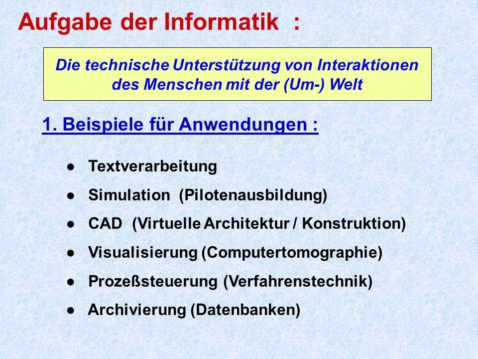 Aufgabe der Informatik : 1. Beispiele für Anwendungen : ● Textverarbeitung ● Simulation (Pilotenausbildung) ● CAD (Virtuelle Architektur / Konstruktio