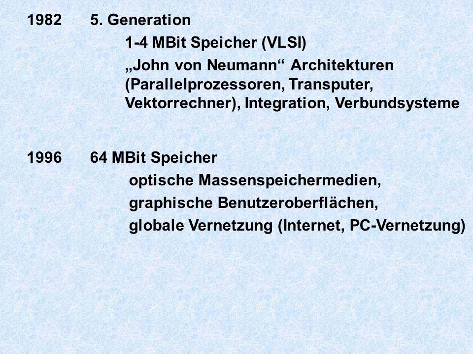 """19825. Generation 1-4 MBit Speicher (VLSI) """"John von Neumann"""" Architekturen (Parallelprozessoren, Transputer, Vektorrechner), Integration, Verbundsyst"""