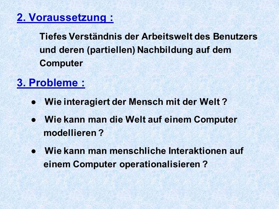 2. Voraussetzung : Tiefes Verständnis der Arbeitswelt des Benutzers und deren (partiellen) Nachbildung auf dem Computer 3. Probleme : ● Wie interagier