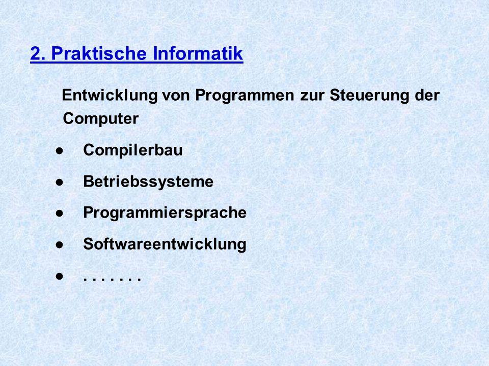 2. Praktische Informatik Entwicklung von Programmen zur Steuerung der Computer ●Compilerbau ●Betriebssysteme ●Programmiersprache ●Softwareentwicklung