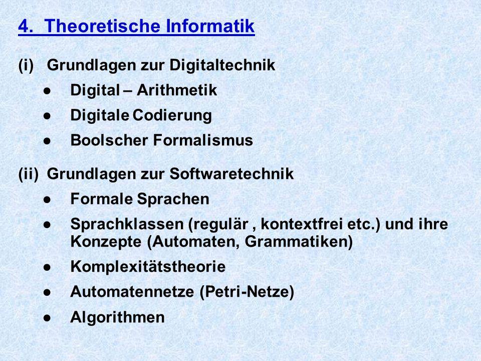 4. Theoretische Informatik (i) Grundlagen zur Digitaltechnik ●Digital – Arithmetik ●Digitale Codierung ●Boolscher Formalismus (ii) Grundlagen zur Soft