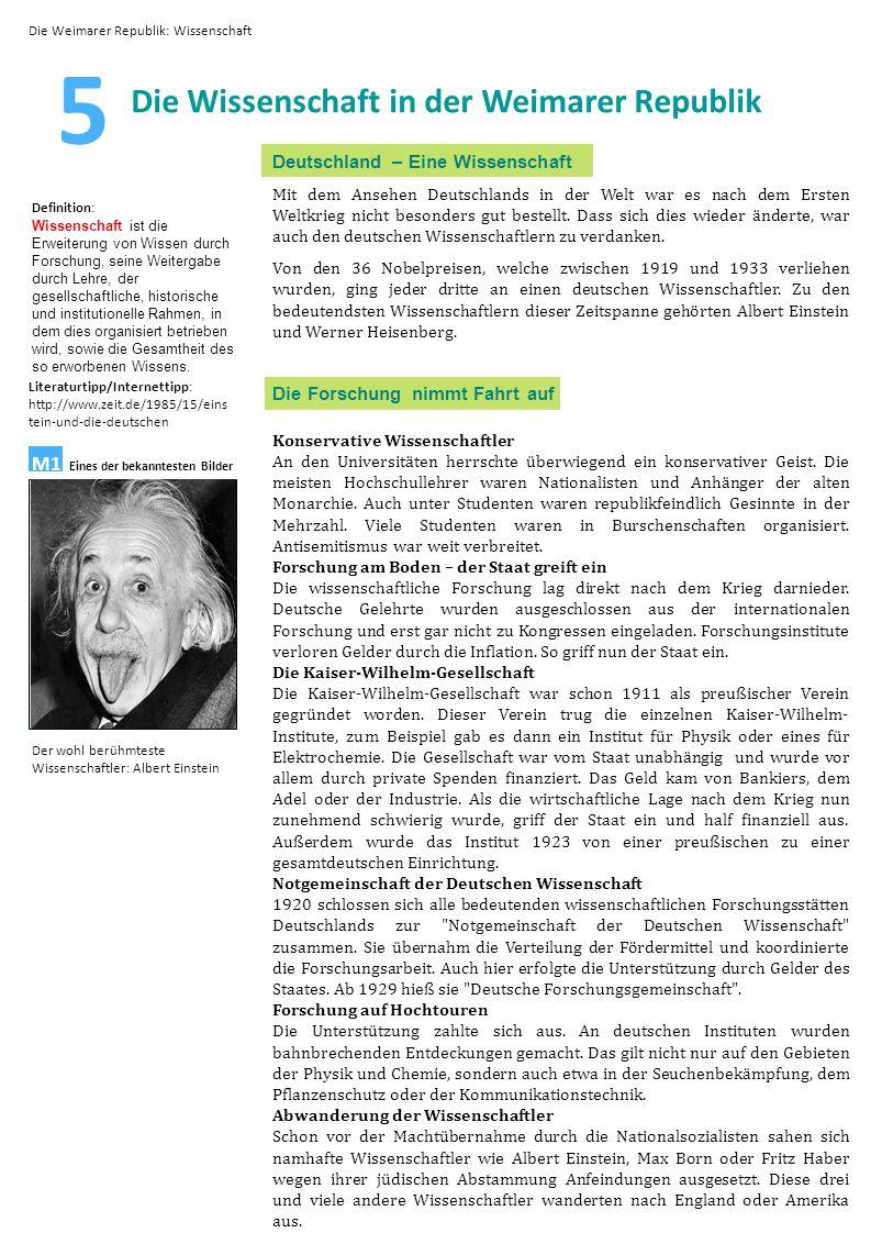 5 Die Wissenschaft in der Weimarer Republik Deutschland – Eine Wissenschaft Mit dem Ansehen Deutschlands in der Welt war es nach dem Ersten Weltkrieg nicht besonders gut bestellt.