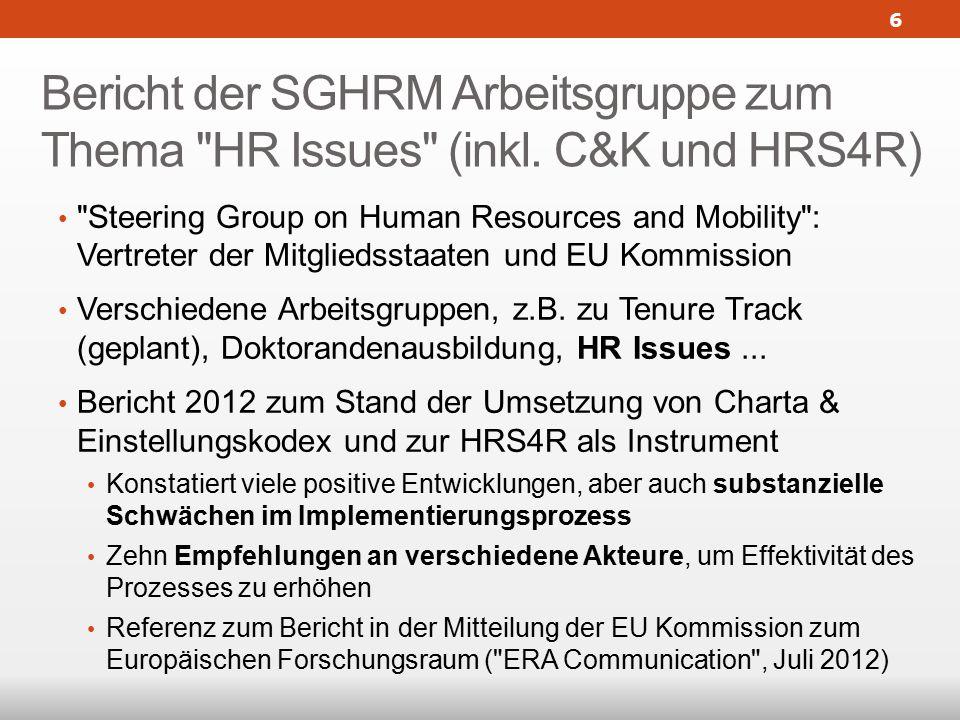 Bericht der SGHRM Arbeitsgruppe zum Thema HR Issues (inkl.