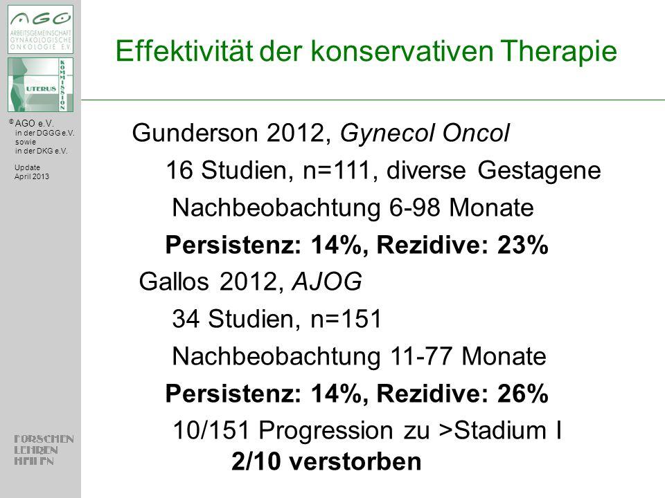 © AGO e.V. in der DGGG e.V. sowie in der DKG e.V. Effektivität der konservativen Therapie Update April 2013 Gunderson 2012, Gynecol Oncol 16 Studien,