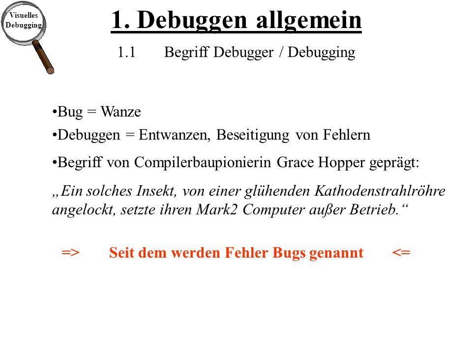 Visuelles Debugging 1.Debuggen allgemein 1.2Vorgehen beim Debuggen Worin besteht der Fehler.