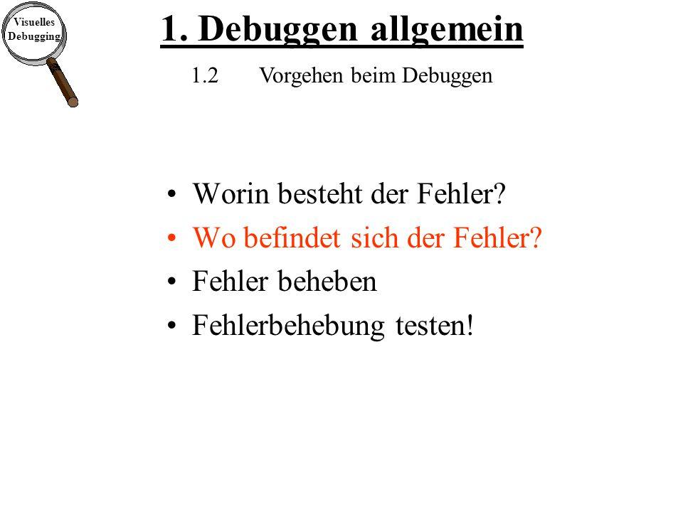 Visuelles Debugging 1. Debuggen allgemein 1.2Vorgehen beim Debuggen Worin besteht der Fehler.
