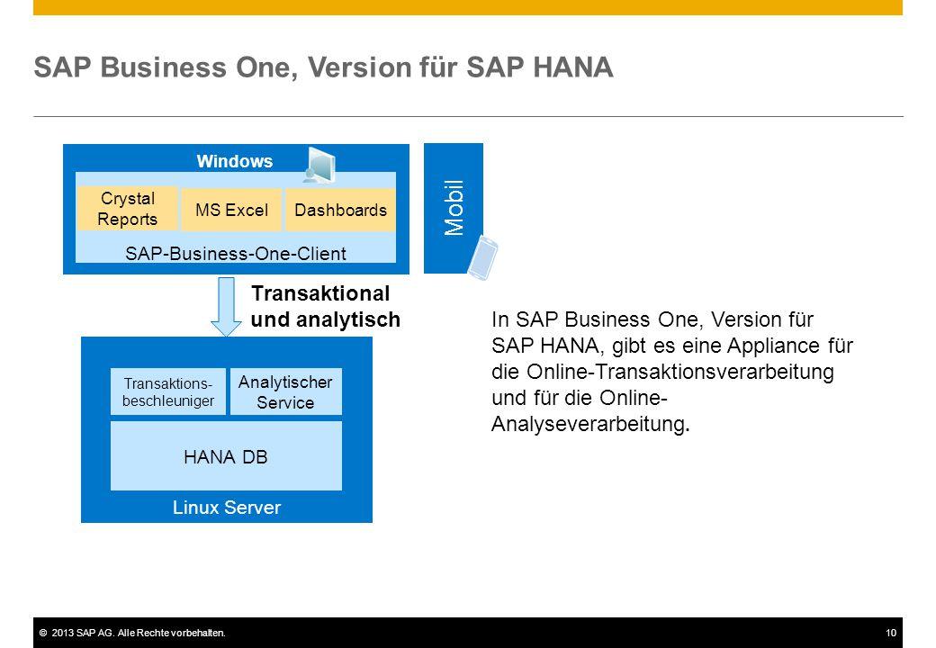 ©2013 SAP AG. Alle Rechte vorbehalten.10 SAP Business One, Version für SAP HANA Transaktions- beschleuniger Analytischer Service HANA DB Transaktional