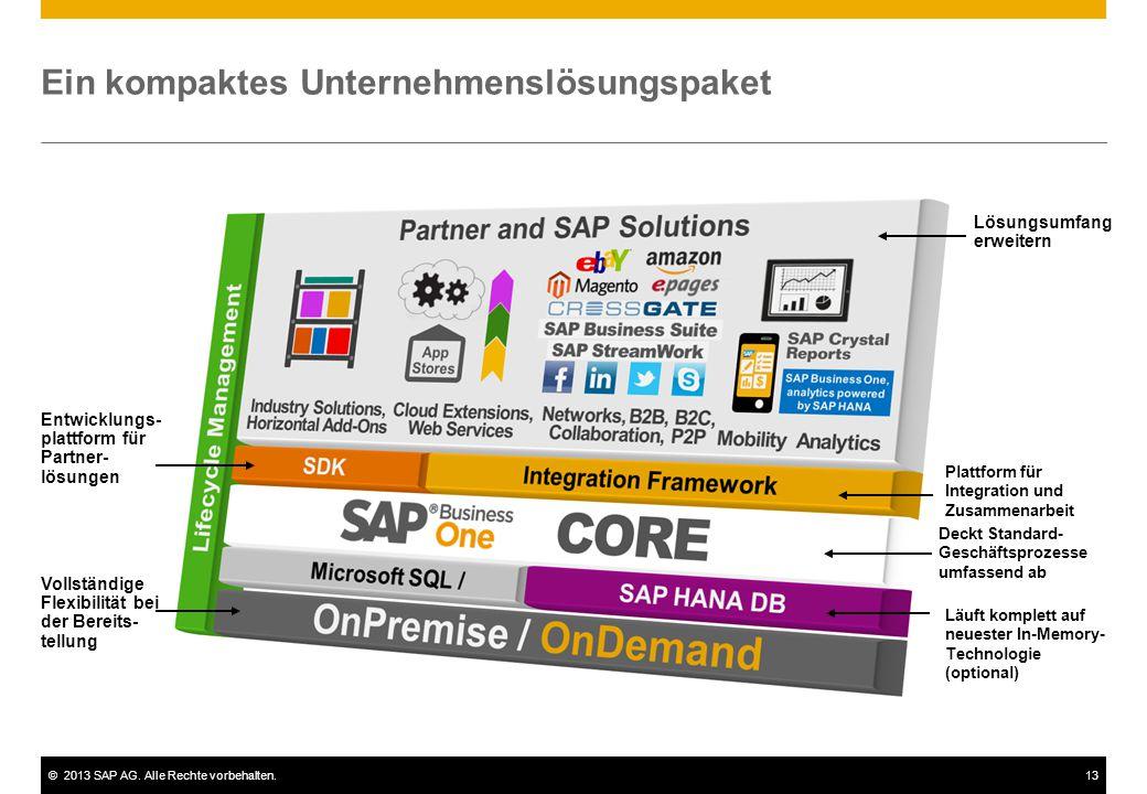 ©2013 SAP AG. Alle Rechte vorbehalten.13 Ein kompaktes Unternehmenslösungspaket Entwicklungs- plattform für Partner- lösungen Deckt Standard- Geschäft