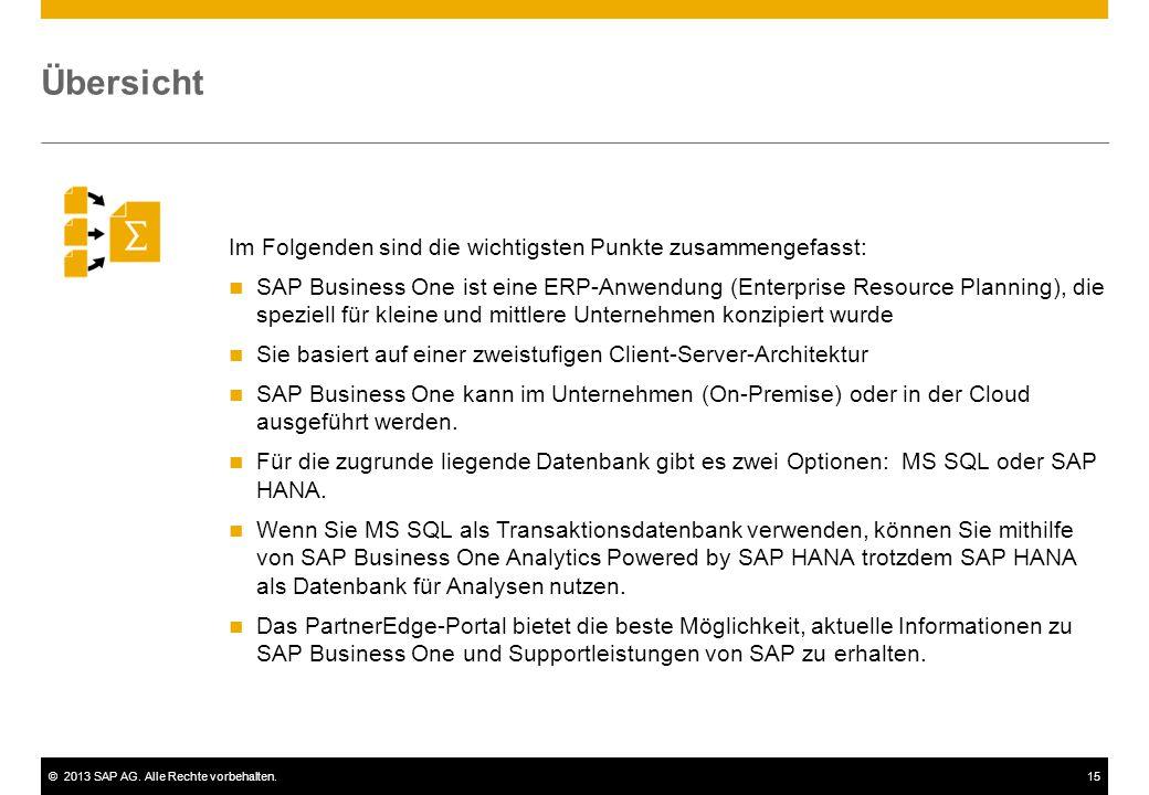 ©2013 SAP AG. Alle Rechte vorbehalten.15 Im Folgenden sind die wichtigsten Punkte zusammengefasst: SAP Business One ist eine ERP-Anwendung (Enterprise
