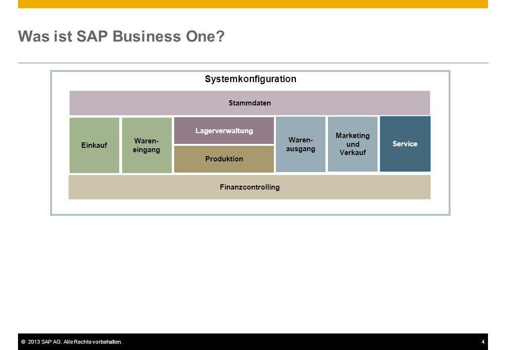 ©2013 SAP AG. Alle Rechte vorbehalten.4 Was ist SAP Business One? Systemkonfiguration Einkauf Lagerverwaltung Produktion Waren- eingang Waren- ausgang